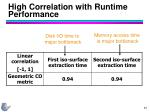 high correlation with runtime performance