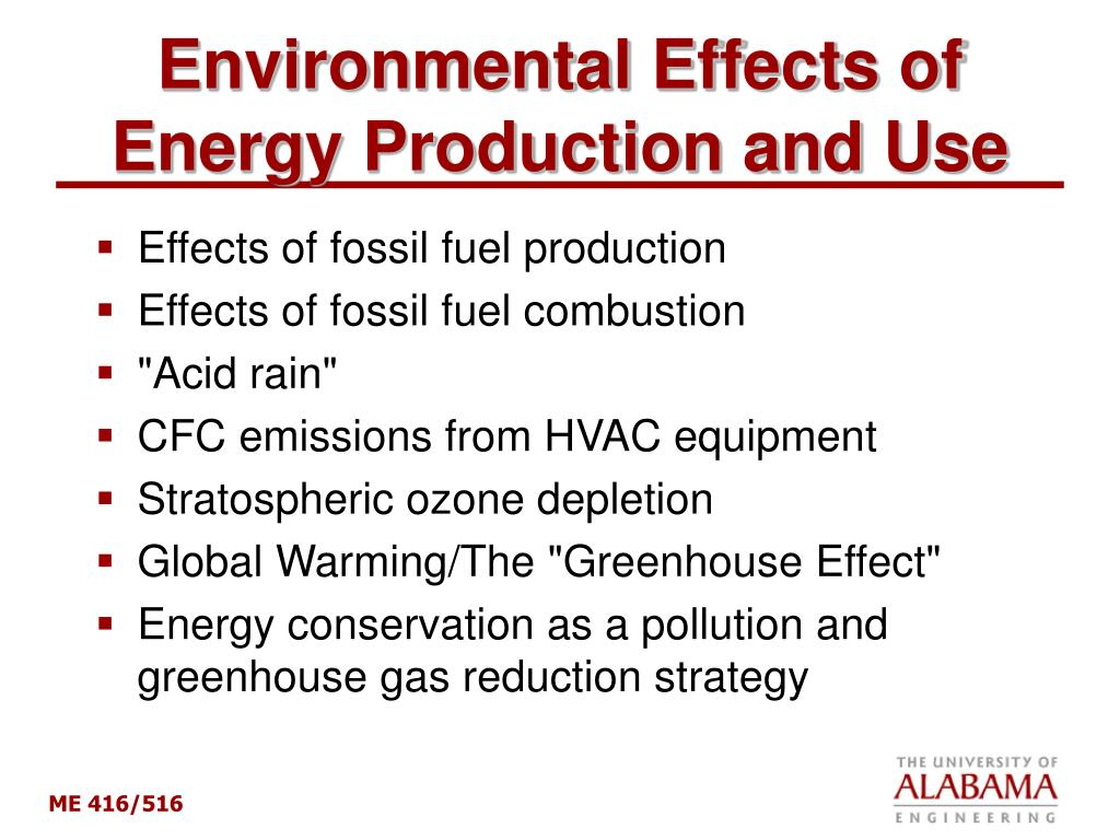 environmental effects of energy production and use l.