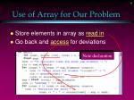 use of array for our problem
