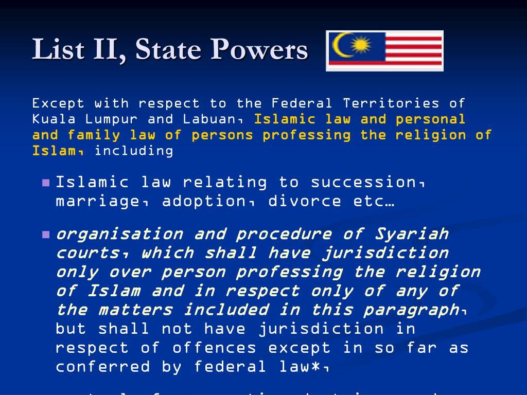 List II, State Powers