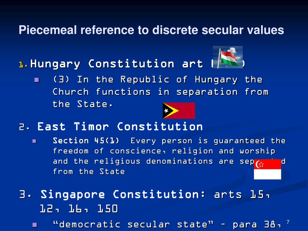 Piecemeal reference to discrete secular values