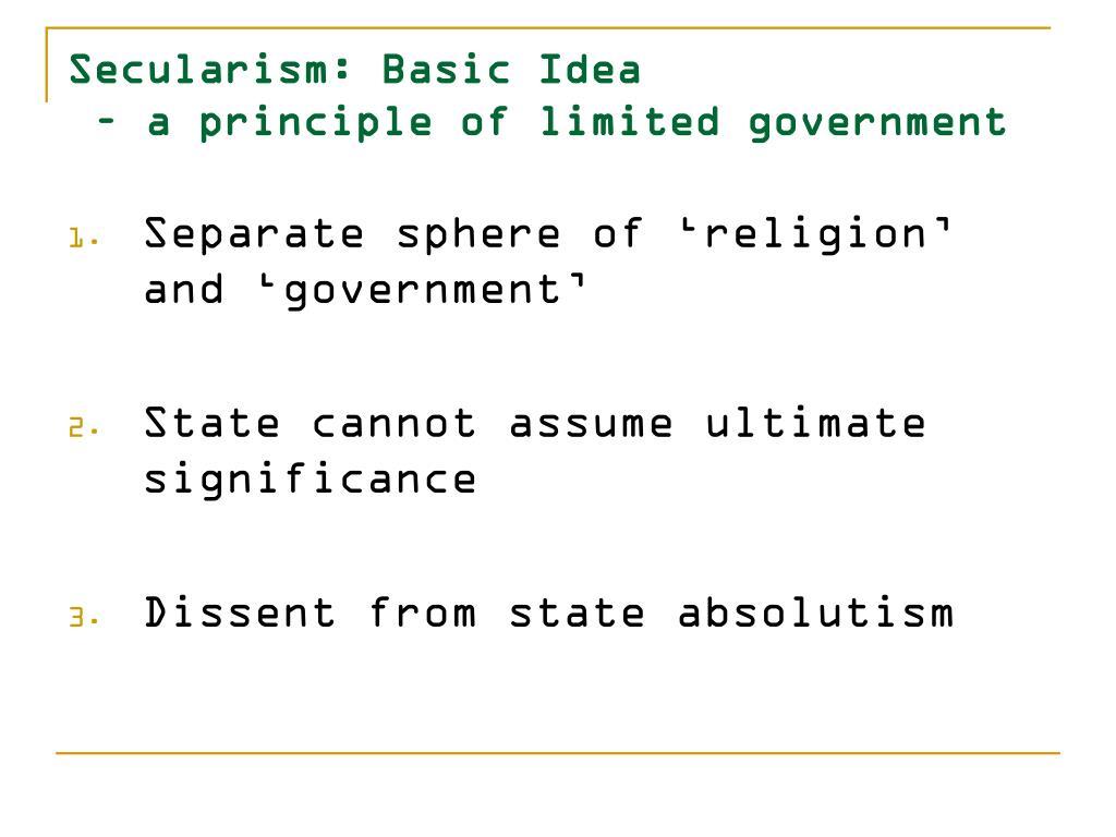 Secularism: Basic Idea