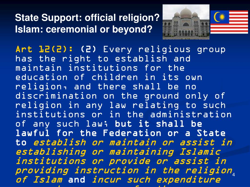 State Support: official religion?