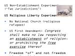 us non establishment experiment two jurisdictions