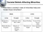 societal beliefs affecting minorities