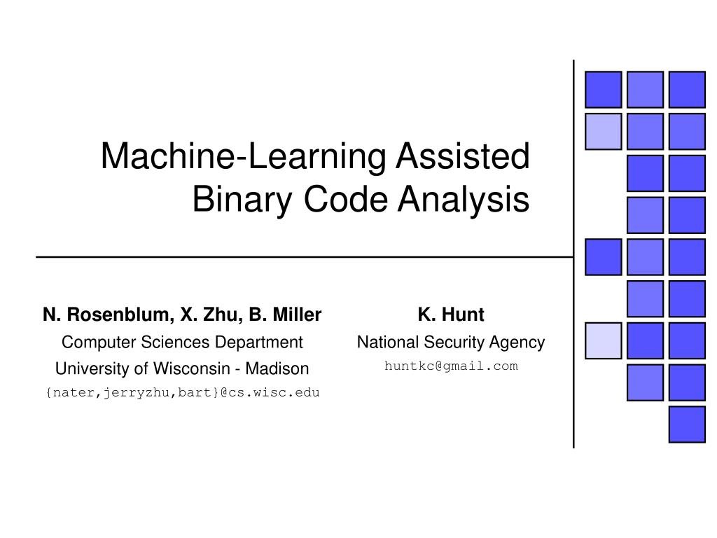machine learning assisted binary code analysis l.