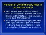 presence of complementary roles in the peasant family42