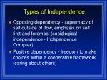 types of independence