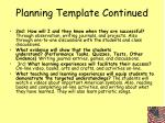 planning template continued