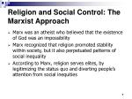 religion and social control the marxist approach