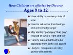 how children are affected by divorce ages 9 to 12