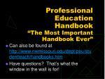 professional education handbook the most important handbook ever
