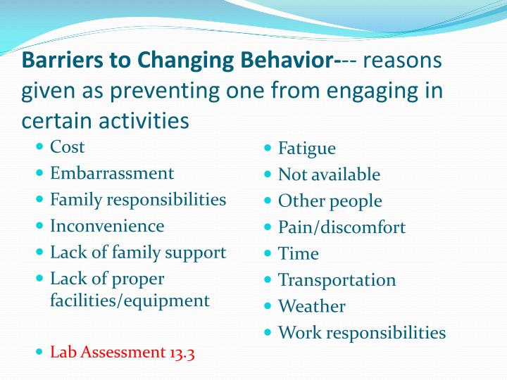 barriers to changing personal health behavior Even if a person perceives personal susceptibility to a serious health condition (perceived threat), whether this perception leads to behavior change will be influenced by the person's beliefs regarding perceived benefits of the various available actions for reducing the disease.