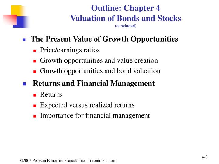 Outline chapter 4 valuation of bonds and stocks concluded