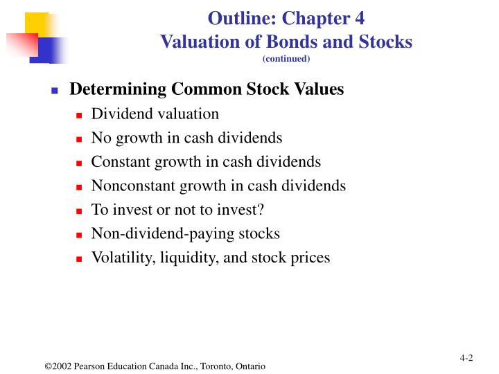 Outline chapter 4 valuation of bonds and stocks continued