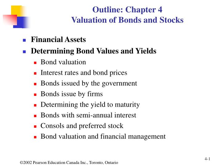 Outline chapter 4 valuation of bonds and stocks