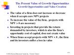 the present value of growth opportunities growth opportunities and value creation