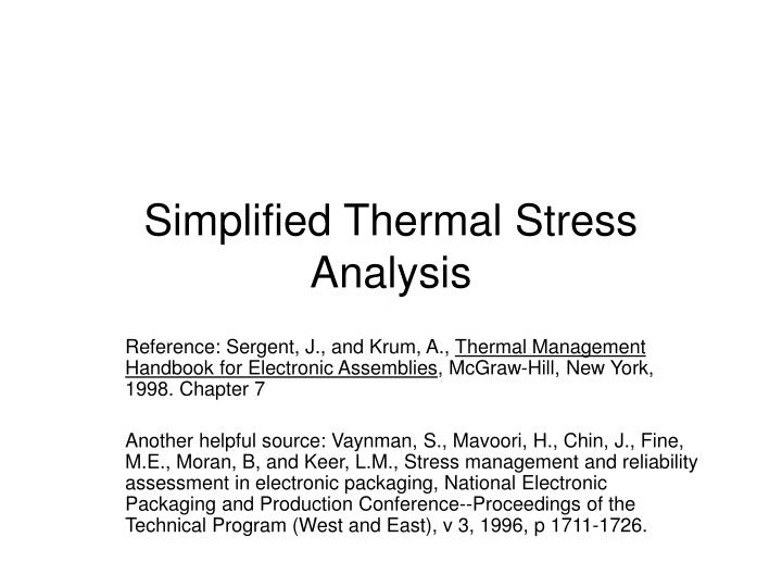 simplified thermal stress analysis n.