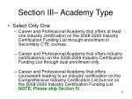 section iii academy type