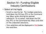 section iv funding eligible industry certifications
