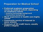 preparation for medical school