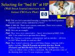 selecting for bad fit at hp wall street journal interview with former ceo lew platt