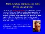 strong culture companies as cults tribes and churches