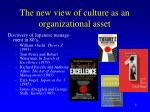 the new view of culture as an organizational asset
