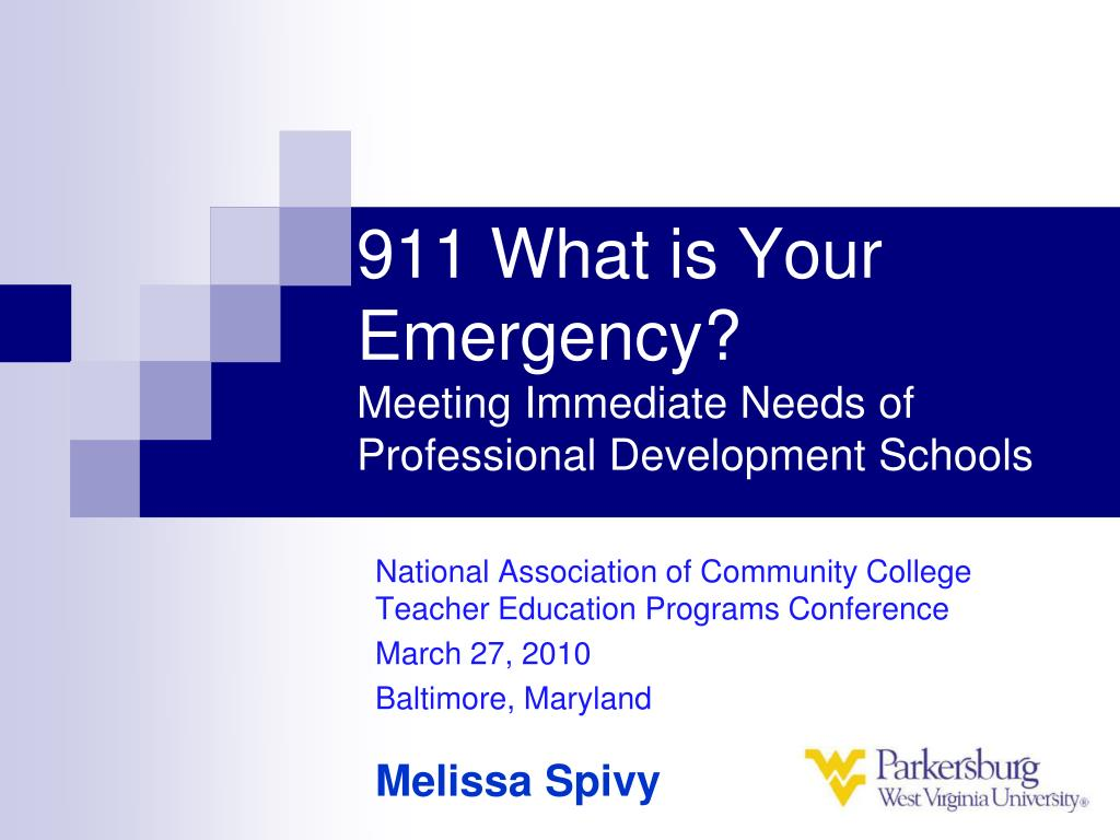911 what is your emergency meeting immediate needs of professional development schools l.