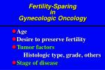 fertility sparing in gyn e cologic oncology