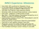 imnci experience milestones