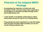 potential of the adapted imnci package