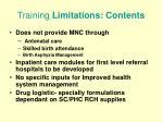 training limitations contents