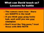 what can david teach us lessons for battle