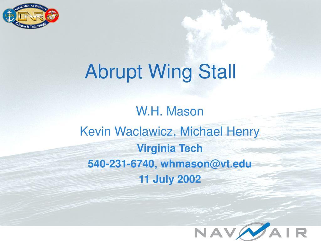 abrupt wing stall l.