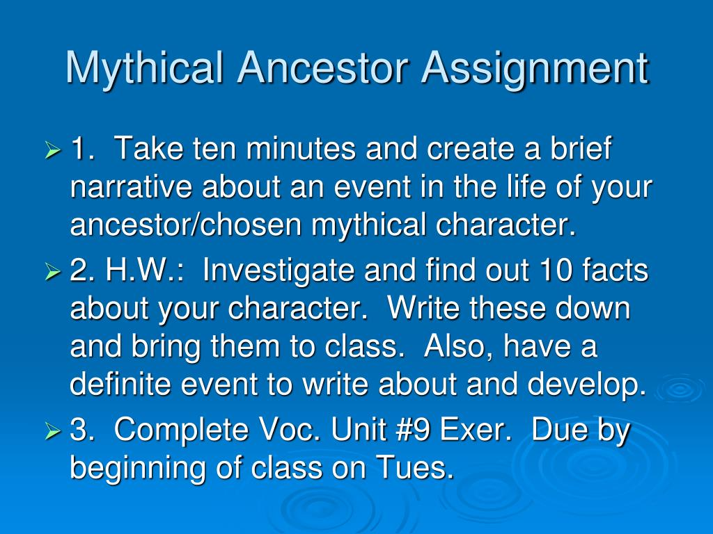 mythical ancestor assignment l.