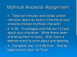 mythical ancestor assignment
