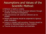 assumptions and values of the scientific method