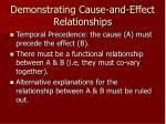 demonstrating cause and effect relationships
