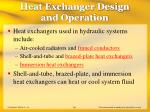 heat exchanger design and operation