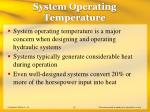system operating temperature