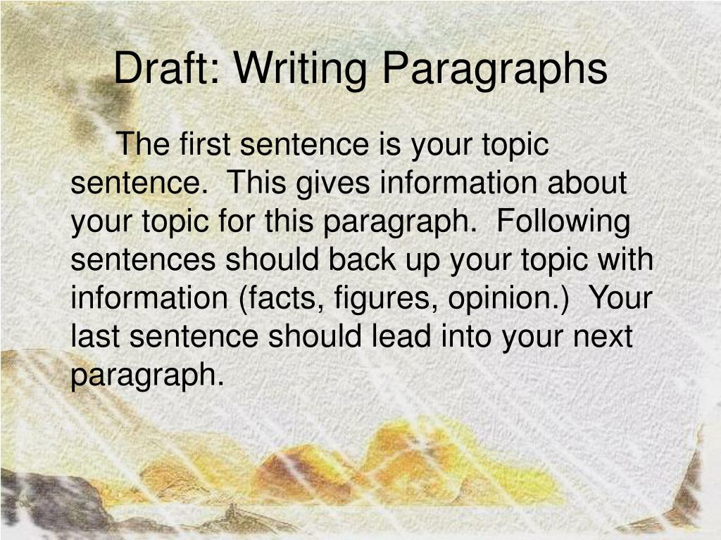 Draft: Writing Paragraphs