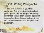 draft writing paragraphs