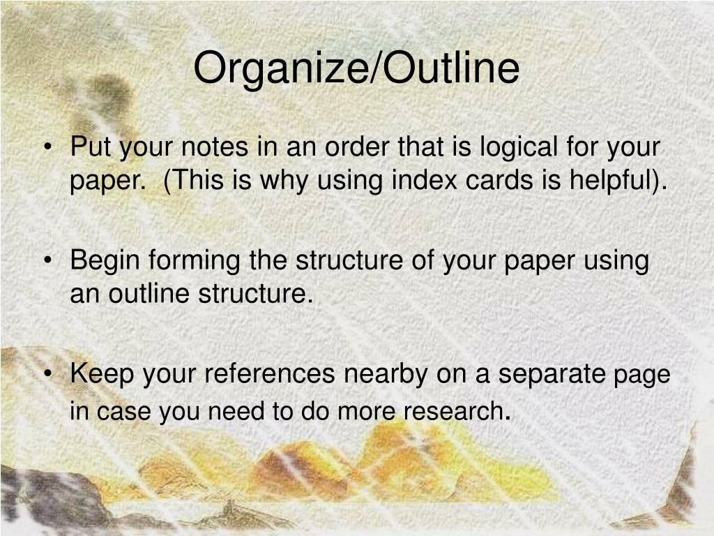 Organize/Outline