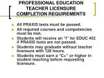 professional education teacher licensure completion requirements