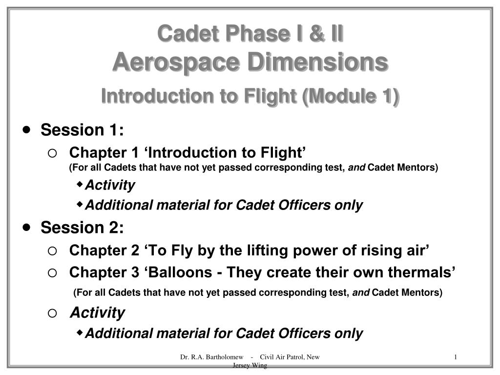 cadet phase i ii aerospace dimensions introduction to flight module 1 l.