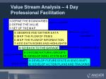 value stream analysis 4 day professional facilitation