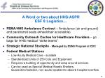 a word or two about hhs aspr esf 8 logistics