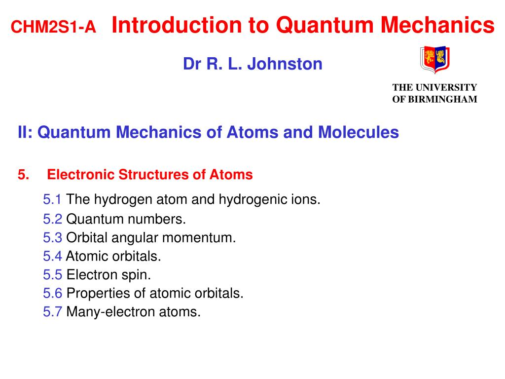 chm2s1 a introduction to quantum mechanics dr r l johnston l.