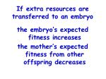 if extra resources are transferred to an embryo